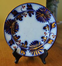 Lovely Antique Flow Blue Hand Painted Copper Luster Gaudy Welsh Ironstone Plate