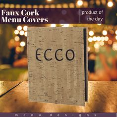 Setting you apart from the crowd with its upscale, stylish and modern look is the reason why faux cork is one of our most popular & proudest menu material options! Faux cork is suitable for any high class restaurant or hotel dining experience & is seen to be most effective with drink & wine menus! #cork #menu #covers #menudesigns #restaurant #hotel #wine #drink #upscale #classy #productoftheday