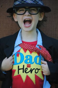 """Dress the Boy for Father's Day with """"Dad Is My Superhero"""" Kids T-Shirt - so cute!"""