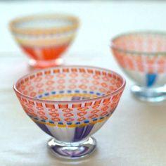 Ikushima Harumi | Footed Glass Dessert Cup: Orange & Purple www.studiokotokoto.com