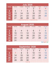 3 Month Calendar 2020 Printable July August September Printable – Free Printable 2020 Monthly Calendar with Holidays 3 Month Calendar, Printable Calendar 2020, September Calendar, Photo Calendar, Calendar Templates, April May, June, Current Picture, Sunday Monday Tuesday
