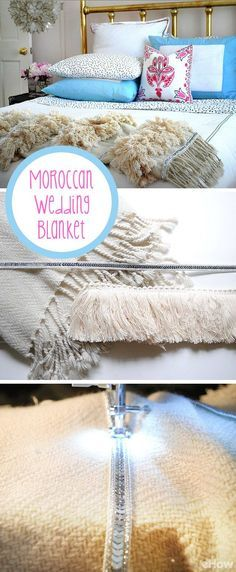 Moroccan wedding blankets can be very expensive to purchase, but you can make your own authentic-looking one in much less time and for a lot less mula with our DIY. Grab the details here: http://www.ehow.com/how_12340777_make-moroccan-wedding-blanket.html?utm_source=pinterest.com&utm_medium=referral&utm_content=freestyle&utm_campaign=fanpage