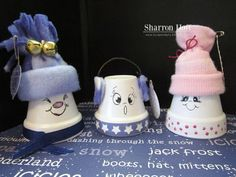 teeny snowman pot place cards hide a candy treat underneath