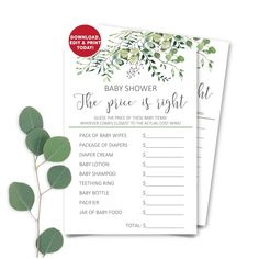 Printable Greenery Baby Shower Price Is Right, Eucalyptus Baby Shower Price Game Card, Botanic Baby Shower Price Is Right INSTANT DOWNLOAD