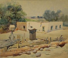 Oscar E. Berninghaus (1874–1952), Adobe House, Watercolor on Paper, 10 x 12 in, JHAA 2008 Sold: $7,475. #painting #art #newmexico