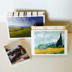 I made some books!  The first was the little one made from a #pegandawl kit. I loved that so much I got out How to Make Books by Esther K Smith and discovered the postcard Coptic book. The two larger ones are made from postcards that I got in Scotland (on the left) and an art museum (Van Gogh- in the right). These are sketchbooks that I'll take along in a special trip coming up.  I am learning to do various book binding stitches and that's a lot of fun.  The little one didn't include covers…