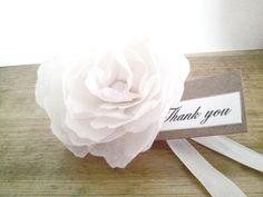 Peony wedding Favour. Hand made and crafted. Soon to be available in different colours. Find out more on our facebook page https://www.facebook.com/SummerAzureWeddingStationary