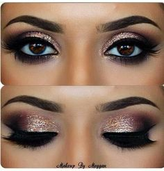 Gold eyeshadow & winged eyeliner
