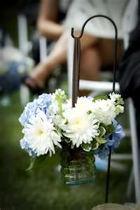 Outside Aisle Flower Decorations in Glass Vase