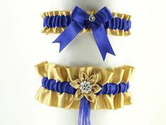 set bridal garter gold and blue garter in by FashionForWomen