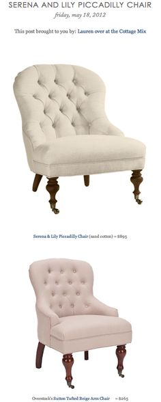 SERENA AND LILY PICCADILLY CHAIR vs OVERSTOCK'S SUTTON TUFTED BEIGE ARM CHAIR