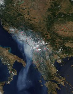 Fires and smoke across southeast Europe