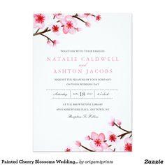 Painted Cherry Blossoms Wedding Invite Invitation Announcement