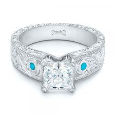 Custom Diamond and Turquoise Engagement Ring #JosephJewelry | Seattle | Bellevue