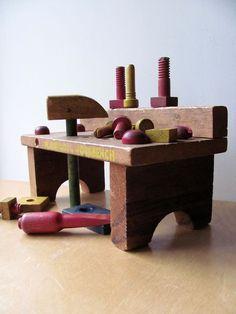 Playskool Work Bench Wood Marked All Original Tools Hammer Screwdriver More Wonderful Vintage Pieces. $41.00, via Etsy.