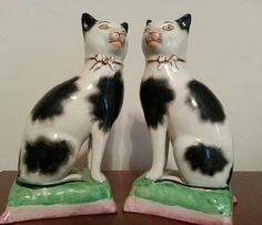 Antique Staffordshire Cats Pair English by OldGLoriEstateSale