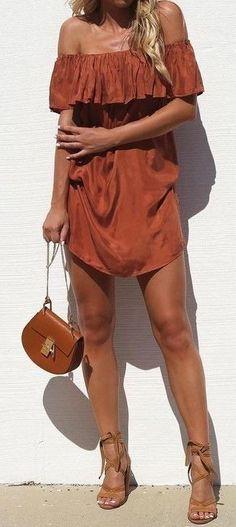 #summer #street #style | Rust Off The Shoulder Dress