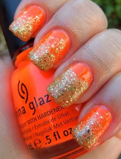 Neon Orange With A Glitter Gradient And A Half Moon