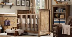 EVERYTHING!  Love the color and style of the furniture, the bedding (not too frou-frou, baby boy blue!), the rustic teddy, leather chair, bear mobile...  perfect little boy's room.