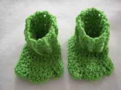 Frog Feet Booties/Slippers    These crocheted slippers are approx. 4 long - perfect for a newborn to maybe 5 month infant. We cant say exactly because
