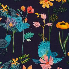 Birds and Floral Fabric