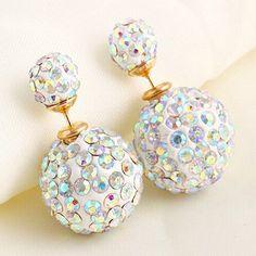 ダブルサイドイヤリングファッションジュエリースタッドピアスフルのラインストーンボール用女性キャンディカラーの小さな新鮮トップ品質E1437