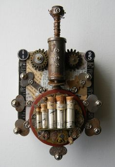 """Steampunk Bug""-Recycled art collage    www.etsy.com/shop/redhardwick"