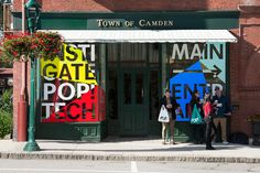 Graphic identity, posters, digital imagery, video, signage and bags by Collins for PopTech Conference Opinion by Richard Baird. Store Signage, Retail Signage, Environmental Graphics, Environmental Design, Signage Design, Banner Design, Booth Design, Design Design, Branding Design