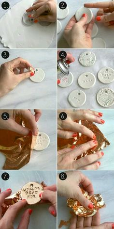 Birthday Gifts : DIY Gold Leaf Clay Gift Tags (step-by-step) by All Sorts of Pretty Polymer Clay Crafts, Diy Clay, Polymer Clay Jewelry, Clay Earrings, Gold Diy, Clay Christmas Decorations, Christmas Crafts, Clay Ornaments, Paper Clay