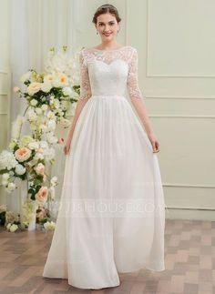 [€ 142.27] Corte A/Princesa Escote redondo Hasta el suelo Gasa Encaje Vestido de novia