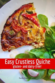 Loaded with veggies, and free from grains & dairy, this delicious crustless quiche is perfect for the diet. Try it for breakfast, lunch or dinner! Best Lunch Recipes, Brunch Recipes, Healthy Recipes, Healthy Lunches, Brunch Ideas, Breakfast Ideas, Healthy Eats, Dinner Recipes, Favorite Recipes