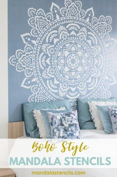 Boho style mandala stencil for for home decoration for your bedroom wall. Easy D. - Boho style mandala stencil for for home decoration for your bedroom wall. Bedroom Murals, Bedroom Wall, Bedroom Decor, Large Wall Stencil, Stencil Diy, Wall Stencil Patterns, Stencils For Walls, Stenciling Walls, Wall Stencil Designs