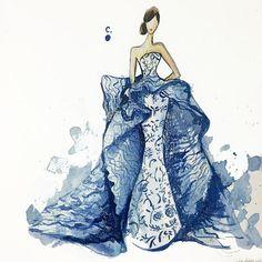 Bộ sưu tập váy dạ hội thời trang lộng lẫy được vẽ nên từ sơn móng tay - Ảnh 1.