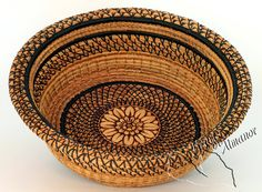 Straw Flower  Pine Needle Basket handmade