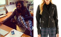 Mindy Kaling wore this quilted (faux) leather moto jacket yesterday. It's by I 'Heart' Ronson and since it's in the ...