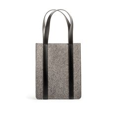Slim Tote | A structured wool felt tote with leather gussets and belting leather straps: perfect for the everyday essentials.