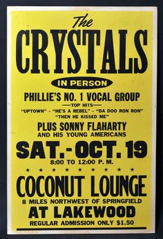 The Crystals 1963 Concert Poster (Coconut Lounge, Springfield, OH)