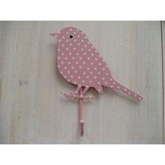 Pink polka dot metal bird hook