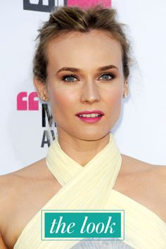 3 Stunning (And Easy) DIY Celeb Beauty Looks! Trust Us, We Tried 'Em #refinery29  http://www.refinery29.com/diy-celebrity-looks#slide20  The Look: Diane Kruger was pretty in pink at the 2012 Critics' Choice Awards, sporting a neon lip and an undone updo.Photo: Everett Collection/Rex USA