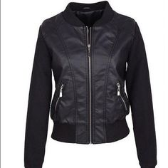 Leather Bomber❤️ (NOT FREE PEOPLE ONLY THERE FOR LOOKS) This is so adorable! only giving this away because it fits me weirdly. The first picture is what it would look like on. It's so lovely I wish I could keep it sadly I'm trying to clear out my closet. It's in perfect condition, no stains or rips. Only flaw is that it doesn't have the tag and I haven't worn it once. It's perfect for any wardrobe! Free People Jackets & Coats