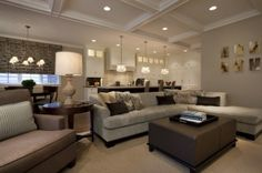 This is a gorgeous space, love the grey tones, and ceilig detail!