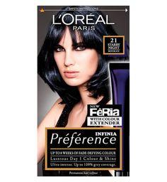 LOreal Paris Preference Infinia 21 Starry Night Blue Black Hair Dye - Boots