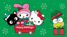 Are you making a list for the holidays and checking it twice? Here's the scoop on all the supercute Black Friday and holiday deals! Hello Kitty Christmas Tree, Cat Christmas Cards, Christmas Cartoons, Merry Christmas, Xmas, My Melody Wallpaper, Sanrio Wallpaper, Hello Kitty Backgrounds, Hello Kitty Wallpaper