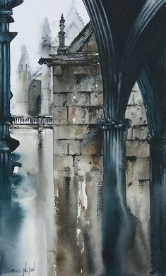 Watercolor And Ink, Watercolor Illustration, Watercolour Painting, Porches, Watercolor Architecture, A Level Art, Urban Sketching, Painting Techniques, Traditional Art