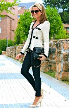 Vintage White and Blue Structured Chanel Looking Jacket
