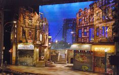 """""""In The Heights"""" original set. Funny, because in the Hillcrest production, Rosario's is on the right, and the salon/bodega is on the left (completely opposite from the original Broadway design.)"""