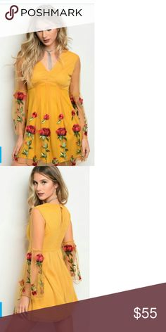 Coming soon stunning Floral dress This is a gorgeous stunning dress with Cher sleeves on the bottom with an ornate design of Floral throughout with the most gorgeous color of a yellowish gold tone this is stunning and will look good on any kind of figure very flattering La Femme chic Dresses Midi