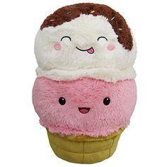 Kawaii Squishables ice cream cone plush with vanilla ice cream, strawberry ice cream, fudge sauce, and rainbow sprinkles! Food Pillows, Cute Pillows, Food Plushies, Evil Geniuses, Kawaii Plush, Big Animals, Cute Stuffed Animals, Squishies, Cute Food