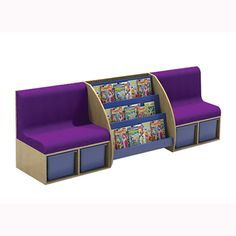 A space-saving combination of library seating and practical storage, perfect for a cozy reading space in the library or an ideal starting point for your classroom reading corner. Pair with bookcases and corner seats to make great arrangements. Reading Corner Classroom, Reading Corner Kids, Library Corner, Reading Corners, Classroom Seats, Children Reading, Future Classroom, Classroom Decor, School Library Design