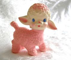 Vintage 1955 Sun Rubber Pink Lamb with Squeaker | eBay | We Heart ...